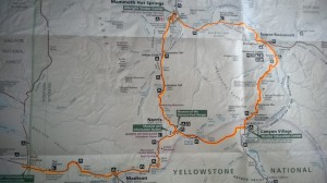 Route Map: Ride #2, Yellowstone NP