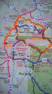 Route Map for Ride to Mt. Rushmore and Crazy Horse--June 4, 2014